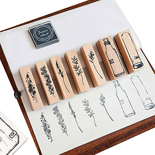 IWILCS Holz Vintage Holzstempel zum Basteln, Vintage Holz Stempel Set, Vintage-Gummistempel, Stempel Set, für Kartenherstellung, Basteln, Schreibwaren Scrapbooking, Tagebuch,7 Modelle