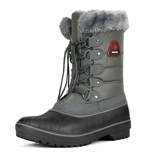 DREAM PAIRS Women's DP-Canada Grey Faux Fur Lined Mid Calf Winter Snow Boots Size 8 M US
