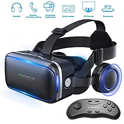 Vr Shinecon Vr Headset for Phone Cool Virtual Reality Goggles for Beginner, with Android Gamepad