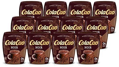 ColaCao 46494 Noir: con Una Selección de Cuatro Variedades de Cacao Diferentes y con 0% de Azúcares Añadidos 12 Envases de 300 g