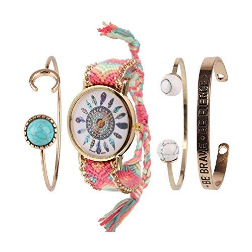 Beauty7 - Fasion Bohemian Stil Schmuckarmbanduhr Ethnisch Armband Armstreifen Bracelet Kuff Kits - Modell 006
