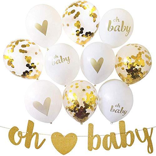 armine88 Latex ballonnen festival set, OH baby confetti ballonnen set Happy Home Decoratie leveringen verjaardag Eén maat goud/wit.