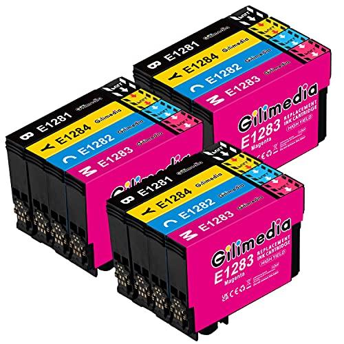 Gilimedia T1285XL Cartuchos de Tinta para Epson T1285XL Tinta para Epson Stylus Office BX305F BX305FW BX305FW Plus, StylusS22 SX125 SX130 SX230 SX235W SX420 SX425W SX430 SX435W SX440 (Paquete de 12)
