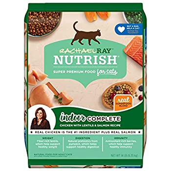 Rachael Ray Nutrish Indoor Complete Premium Natural Dry Cat Food Chicken with Lentils & Salmon Recipe 14 Pounds  Packaging May Vary