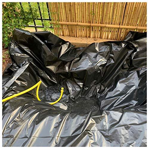 Teichfolien Zuschnitt PVC Premium Teichfolie Schwarz Stärke 0,5 mm Schwimmteich Folie Gartenteich Teichplane, für Teichbau, Garten- und Teichzubehör, mit Reparaturband(Color:0.5mm,Size:16x20ft5x6m)