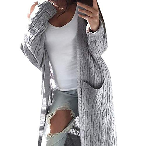 Xiangdanful Damen Strickjacke Lang Cardigan Strickmantel Herbst Winter Sweater Casual Langarm Outwear Strickpullover Coat Wasserfall Gestrickt Sweatshirt Knitted Übergangsjacke (XL, Silber)