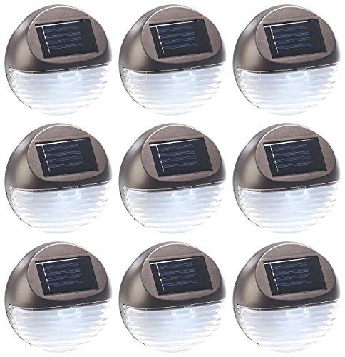Lunartec Gartenzaun Beleuchtung: 9er-Set Solar-LED-Zaunleuchte für Hauswand & Treppe, Lichtsensor, IP44 (LED Gartenzaun Beleuchtung)