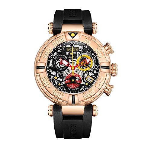 REEF TIGER Herren Uhr analog Quartz mit Kautschuk Armband RGA3059-S-PBBB