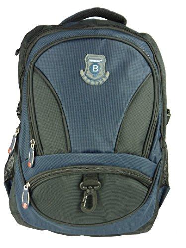 New Berry Schulrucksack - Rucksack für Schule Arbeit Sport Outdoor - wetterfest, stabil und komfortabel - 32 Liter - 45 x 35 x 20 cm (blau dunkelblau schwarz)