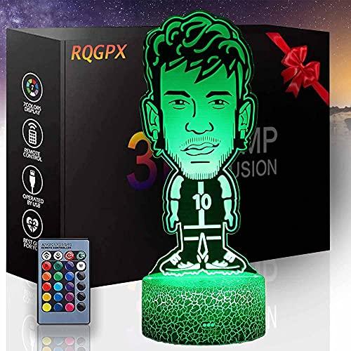 Lámpara de ilusión 3D, jugador de baloncesto C controlador de luz nocturna 16 colores cambio automático interruptor táctil con control remoto para regalos