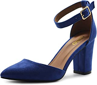 Ollio Women's Shoes Pointed Toe Ankle Straps Chunky Heels Pumps H95