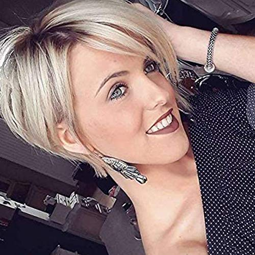 MIMAN Blonde Pixie Wig Layered Hair Natural Looking Fluffy Short Cut Wigs with Bangs Dark Roots Synthetic Wigs for Women (Platinum Blonde)