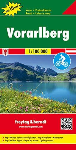 Vorarlberg, Autokarte 1:100.000, Top 10 Tips: Auto-, Rad- & Freizeitkarte, Top 10 Tips - Maßstab 1:100.000 (freytag & berndt Auto + Freizeitkarten)