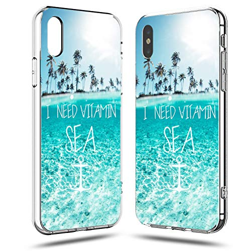 iPhone XR Case,Funny Cute Tropical Beach Quote and Saying I Need Vitamin Sea Palm Tree Hawaii Blue Clean Ocean Aloha Summer Case Girls Women Clear Side Soft Case Compatible for iPhone XR New Jersey
