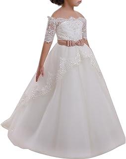193217aed Appliques de encaje vestido de niña de flores para la boda Princesa Vestidos  de Dama De