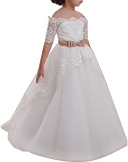 Girls Flower Lace Princess Communion Tulle Dress Long Pageant Gown Floor Length Prom Wedding Evening Formal Party