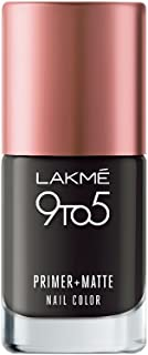 Lakme 9 to 5 Primer and Matte Nail Color, Charcoal, 9ml