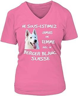 TEEZILY Sweat /à Capuche Chien Ne sous-Estimez jamais Une Femme avec Un Berger Blanc Suisse Unisex