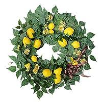 #N/A 人工レモン花輪、22 インチ装飾すべて季節花輪花輪春/夏フロントドアの壁の家の装飾、フェスティバル結婚式の装飾
