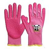 Guantes de jardinería para niños de 7 a 9 años, palma de goma para resistencia al agua y a la suciedad, rosa