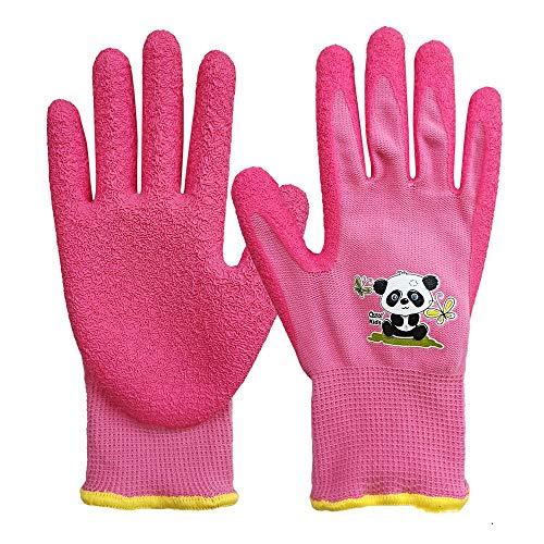 QEAR Safety Gartenhandschuhe für Kinder von 7 bis 9 Jahren, Handfläche aus Gummi, widerstandsfähig gegen Wasser und Schmutz, rosa