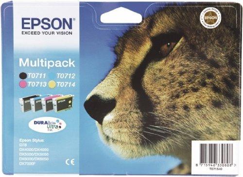 Original Tinte passend für Epson Stylus Office BX 600 FW Epson T0715 C13T07154010-4x Premium Drucker-Patrone - Schwarz, Cyan, Magenta, Gelb - 23,9 ml