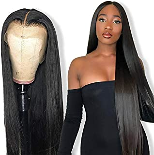 Brazilian Middle Part Lace Front Wig for Black Women 150 Density 13x5 Silky Straight Lace Wigs Pre Plucked with Baby Hair Virgin Lace Frontal Wigs Queen Plus Hair (18inch, middle part wigs)