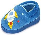 LACOFIA Pantofole Invernali da Bambino Ciabatte Peluche da casa Calde Antiscivolo per Bambini Blu 26/27
