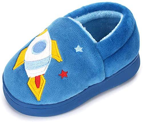 LACOFIA Pantuflas Antideslizante de Invierno para niños Zapatillas de casa de Peluche cálida para niños Azul 32/33