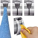 Tatkraft IDA Colgadores para Toallas Fuertes Adhesivos | Set de Toalleros de 4 Unidades | hasta 5 kg | Acero Inoxidable