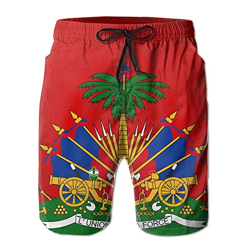 SOUL JCJ Coat of Arms of Haiti - Men's Summer Shorts Casual Swim Trunks Boardshort
