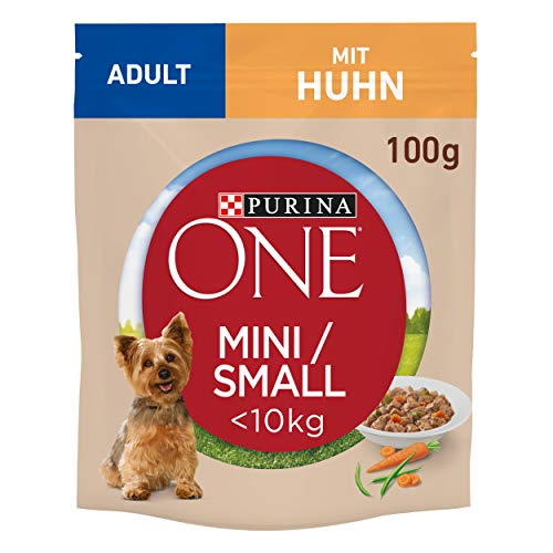 PURINA ONE Mini/Small Adult Hundefutter nass für kleine Hunde, reich an Huhn & Gemüse, 20er Pack (20 x 100g)
