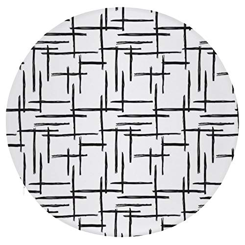 TOBEEY Black Line Cheak Pattern Round Chair Pad Multi-Function Throw Pillows Durable Meditation Pillow for Home Bed