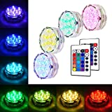 Litake Submersible LED Lights, RGB Multi Color Waterproof Remote Control Battery Powered...