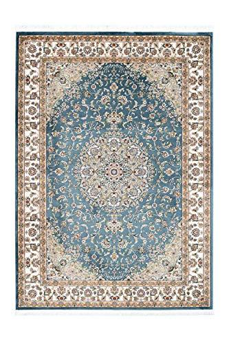 Lalee Klassischer Teppich mit Seidenoptik, Blau, 80 x 150 cm