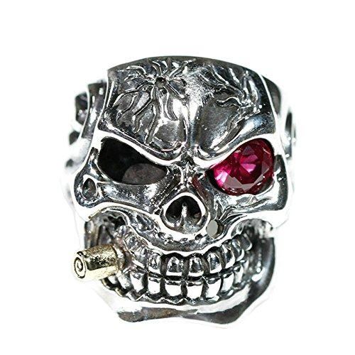 Epinki Plata de Ley 925 Gótico Rojo Ojo Fumar Cráneo Anillo para Hombre Tamaño 25 para Compromiso y Boda