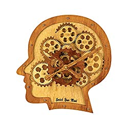 Kintrot Moving Gear Clock Meaningful Creative Wood Clock - Enrich Your Mind, Unique Home Decor