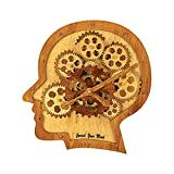 Kintrot 3D Brain Moving Gear Clock Industrial Steampunk Wooden Wall Clock Home Decor