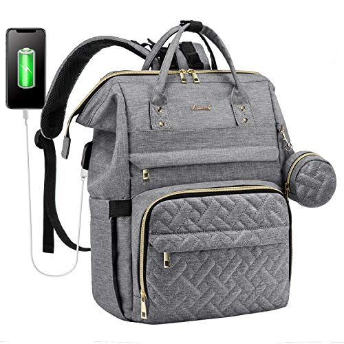 Diaper Bag Backpack Large Baby Bags for Mom, with Hanging Straps and Padded Laptop Compartment, Light Grey