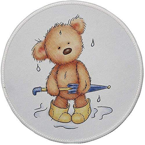Rubber ronde muismat, beer, teddybeer gevangen in regen met rubberen laarzen met een paraplu cartoon, zand bruin geel blauw