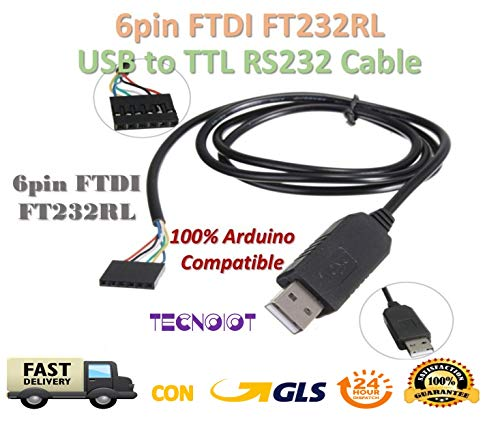 TECNOIOT 6Pin FT6Pin FTDI FT232RL USB to Serial Adapter Module USB to TTL RS232 Cable