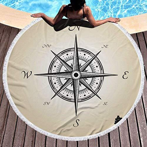 shuangshao liu Toalla de Playa Redonda Round Beach Towel Blanket Compass Sketch Vintage Nautical Theme Thick Large Microfiber Beach Roundie Circle Picnic Carpet Yoga Mat with Tassel for Women Men