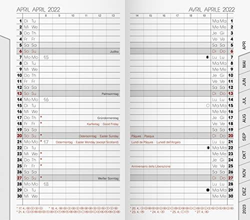 BRUNNEN 1075100002 Taschenkalender/Monats-Sichtkalender Modell 751 Ersatzkalendarium, 2 Seiten = 1 Monat, 8,7 x 15,3 cm, Kalendarium 2022