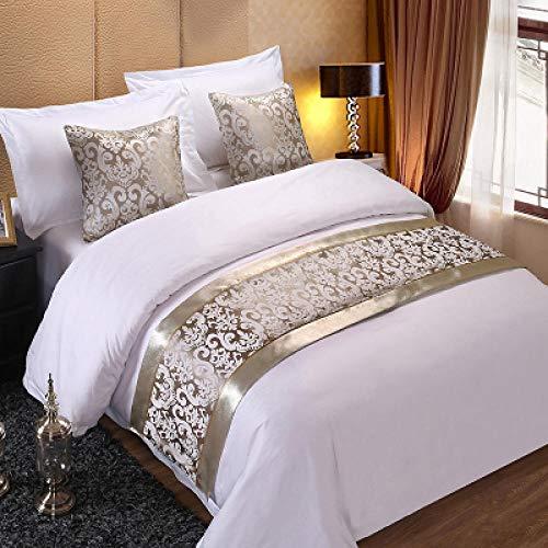 Bed Runner Letto Runner Runner da letto Hotel bed bandiera biancheria da letto copriletto asciugamano da letto high-end hotel abbraccio federa tappetino bordo bordo argento fiore d'argento _ cuscino