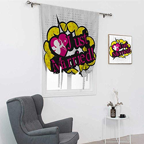 GugeABC Wedding Decorations Roman Blind, Pop Art Style Design Cupid Bow Arrow Love in the Air Just Married Retro Tie Up Window Shade for Home, Multicolor, 39' x 64'