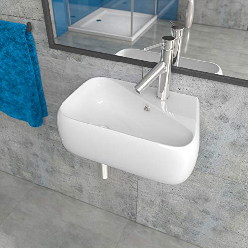 Design Keramik Waschbecken Waschtisch Waschschale Aufsatzwaschbecken Aufsatzwaschtisch Gäste WC Becken mit Armaturloch Rechts KB-A486 -R BxTxH 45,5x28x15,5cm
