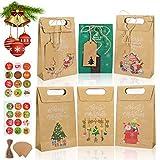 GIKPAL Bolsas de Regalo para Navidad, 24 Bolsas de Papel Kraft DIY con 24 Números Pegatinas, Calendario de Adviento Bolsas Papel para Fiestas Galletas Caramelos Bombones