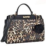 2 Tone Large Satchel Handbag Designer Top Handle Purse Fashion Shoulder Bag Leopard/Black