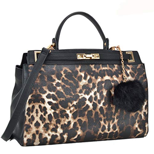 2 Tone Large Satchel Handbag Designer Top Handle Purse Fashion Shoulder Bag Leopard/Black
