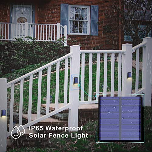 LOHAS Solar Fence Post LED Lights Outdoor, Wireless Dusk to Dawn Solar Light, Night Light with IP65 Outdoor Waterproof, Soft White 3000K Solar Light for Security, Patio, Yard, 4 Pack (Update Version)